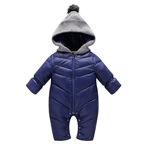 Vine Tute da neve Bambino Pagliaccetti Hooded Body Inverno Overalls, Blu, 18-24 Mesi