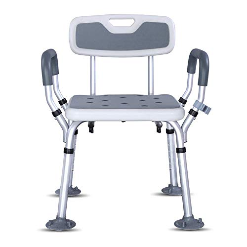 Home Lift Shower Bathtub Shower Stool Bathroom Seat Shower Chair with Non Slip Foot Pads Armrest Backrest for Pregnant Woman