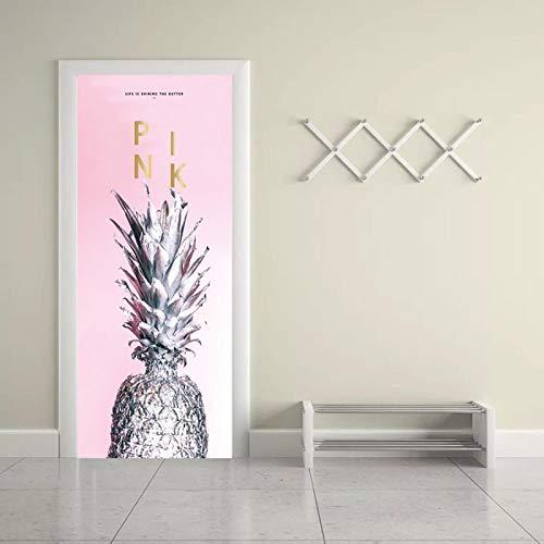 Etiqueta engomada de la puerta 3D para el baño de la cocina del dormitorio Fruta piña rosa arte 77x200cm Pegatinas de puerta 3D Mural adhesivo de pared autoadhesivo arte lienzo póster impresión vinilo