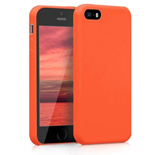 kwmobile Custodia Compatibile con Apple iPhone SE (1.Gen 2016) / 5 / 5S - Cover in Silicone TPU - Back Case per Smartphone - Protezione Gommata Arancione