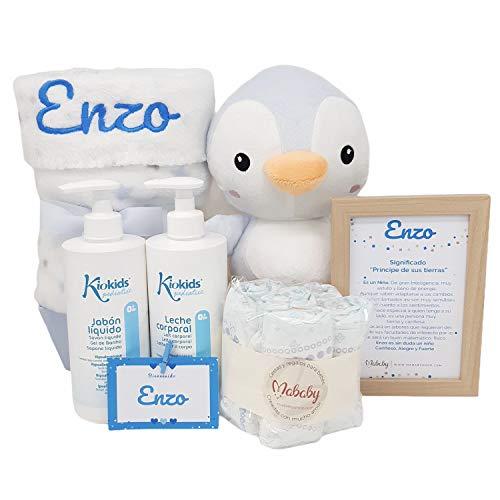 My Blanket de Mababy | Set Regalo para Recién Nacido Personalizado, Completa canastilla de bebé bordada con el nombre. Regalos para bebés con Manta y Peluche Personalizados (Pingu Azul)
