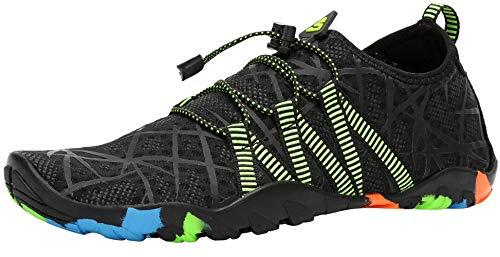 SAGUARO Escarpines Zapatos de Agua Calzado Playa Zapatillas Deportes Acuáticos para Buceo Snorkel Surf Natación Piscina Vela Mares Rocas Río para Hombre Mujer (019 Negro,45 EU)