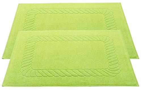 ZOLLNER Set de 2 Tapis de Bain, 100% Coton, 50x70 cm, 740g/qm, Vert