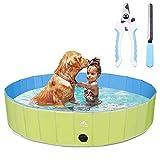 Zacro Piscina plegable para perros, de plástico duro, para perros grandes, para mascotas, bañera, piscina, para perros y niños, 63 x 11.8 pulgadas
