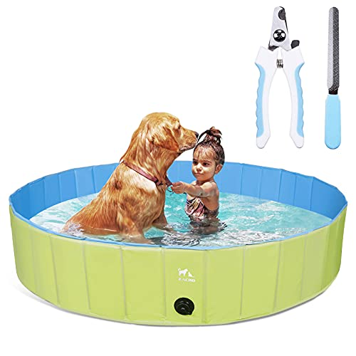 Zacro Foldable Dog Pool, Hard Plastic Dog Pool for Large Dogs Pet Paddling Bath Kids Pool Bathing Tub Swimming Pool for Dogs and Kids, 63inch x 11.8inch