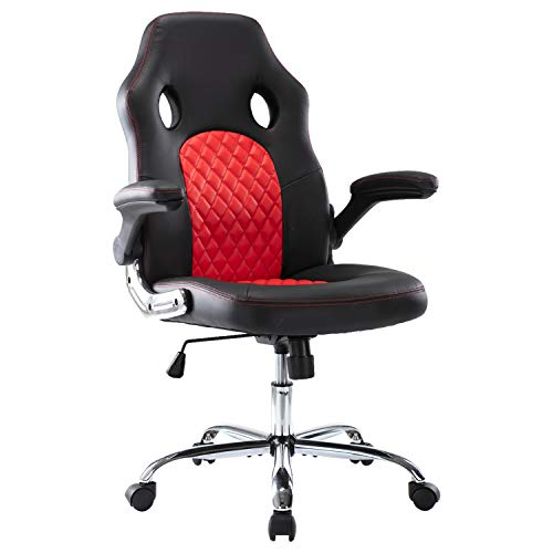 Full luxury  Gaming Chair Bonded Leather, with Flip-up Armrests and Rolling Casters