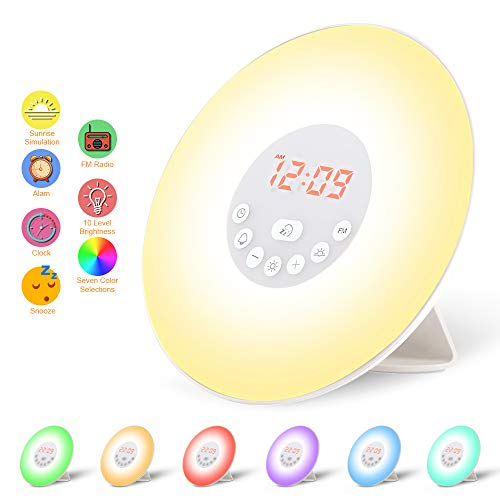 Wake Up Light, Lámpara Despertador Luz Nocturna Adaptador de LED + Cable USB Control Táctil Salida del Sol/Puesta del Sol/Radio FM/6 Sonidos Naturales/7 Colores/10 Niveles de Brillo (6638)
