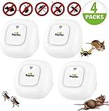 Ultraschall-Mückenschutzmittel, Anti-Nagetier-Insekten, Mini-Ultraschall-Abwehrmittel, elektronische Anti-Ratten-Mäuse Mücken Kakerlake Fliegen Kakerlaken Ameisen Spinnen (4 Packungen)