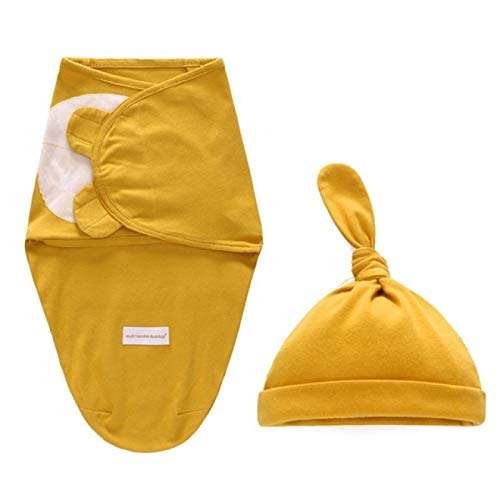 SENFEISM Swaddle Blanket 2 Pcs/Set New Infants Baby Cotton Wrap Sleeping Bag Hat Newborn Girls Boys Solid Color Swaddle Cap Set