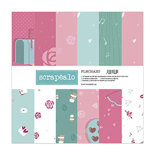Kit de papeles para scrapbooking colección Flechazo de Scrapéalo - Contiene 12 papeles decorativos para álbumes de recortes de 250gr. m² impresos a doble cara con medidas de: 30,5 x 30,5 cm.