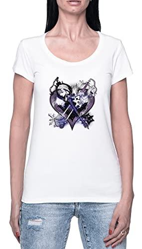Reino Corazones Llaves Espada Camiseta para Mujer Blanca De Manga Corta Ligera Informal con Cuello Redondo Women's Tshirt White