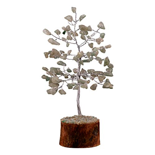 Crocon Green Jade Gemstone Money Tree Feng Shui Bonsai for Reiki Healing Chakra Stone Balancing Energy Generator Spiritual Home Interior Office Decor Size: 7-8 Inch