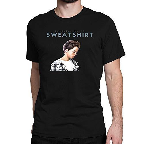 SHIQINQ Herren Jacob Sartorius Song Summer Short Sleeve High Low Loose T Shirt Basic Tees Tops XX-Large
