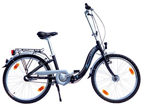 24 Zoll Lander Faltrad 3 Gang Alurahmen Nabendynamo StVZO-Ausstattung schwarz matt
