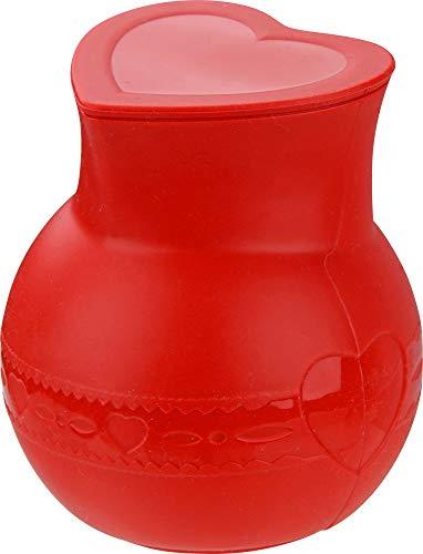 Dr. Oetker Silikon-Schmelztopf mit Deckel FLEXXIBEL Love, Schmelzen von Schokolade, spülmaschinengeeignet,mikrowellengeeignet,250 ml Fassungsvermögen (Farbe: Rot), Menge: 1 Stück