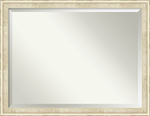 Amanti Art Framed Vanity Mirror   Bathroom Mirrors for Wall   Country White Wash Mirror Frame   Solid Wood Mirror   X-Large Mirror   34.38 x 44.38 in.