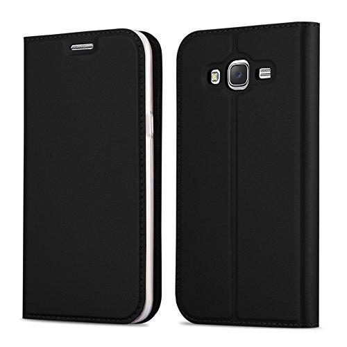 Cadorabo Coque pour Samsung Galaxy Grand Prime en Classy Noir - Housse Protection avec Fermoire Magnétique, Stand Horizontal et Fente Carte - Portefeuille Etui Poche Folio Case Cover