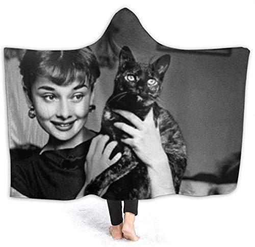 Kapuzendecke Audrey Hepburn Black Cat Nap Decke Doppelschicht Verdickte Tragbare Sherpa Fleece Bettwohn Büro Wohnzimmer Spiel Reisedecke Mantel Für Erwachsene Kinder (Size : 150 * 200cm)