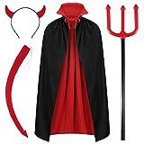 WILLBOND 4 Pack Halloween Devil Costume Set Reversible Cloak Devil Horn Headband Tail Devil Pitchfork