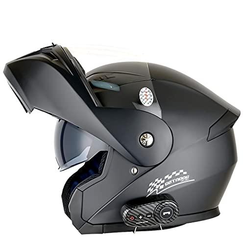 Casco de motocicleta con Bluetooth de cara completa, plegable, modular, con visera de doble lente HD, para hombre y mujer, aprobado por DOT/ECE, color negro mate, XXL