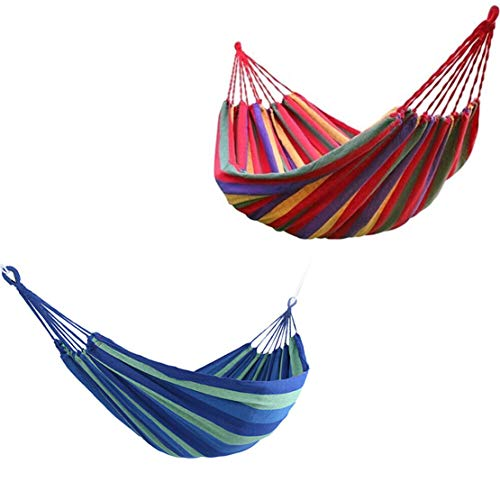 szaerfa Portable Extra Thick Double Hammock, Comfortable - Easy to Clean - Swing Canvas Stripe Hang Bed Hammock for Patio, Yard, Camping, Hiking, Backpacking, Beach, Picnic (280 * 80cm, Red)