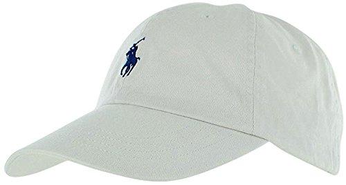 Ralph Lauren Boys Polo Baseball Cap (Size 8/20) (White/Navy Blue Logo)