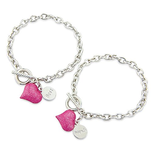 Chic Bestfriends Bracelet, Pink Heart Friendship Bracelet - with 2 Gift Bags