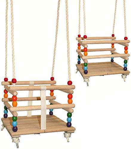alles-meine.de GmbH Gitterschaukel - UMBAUBAR - mit abnehmbaren Gurt - Schaukel aus Holz - mitwachsend & verstellbar - Babyschaukel / Kinderschaukel - Leichter Einstieg ! - Holzg..