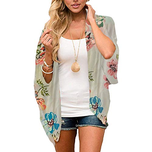 Yyh Cardigan-Sommer-strand-verflaag chiffon bloemen boho zomer cardigan Kimono blouse vrouwen Medium Apricot Flowers