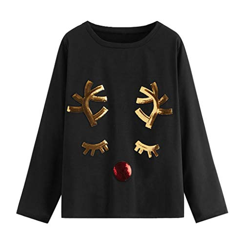 Luckycat Lentejuelas Sudaderas Adolescentes Chicas Sudaderas Mujer Tumblr con Capucha Santa Camiseta Navidad Alce Blusa Navidad Tops de Manga Larga