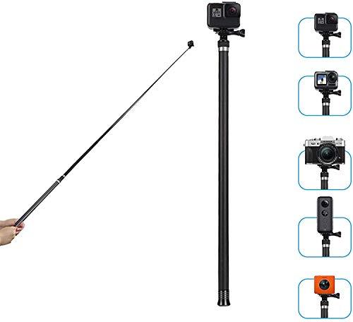 """TELESIN Bâton à selfie ultra long de 270 cm pour GoPro Hero/OSMO Action/Insta 360/appareil photo SLR, extensible à 22"""" / 47,2"""" / 106"""" Bâton portable léger en fibre de carbone"""