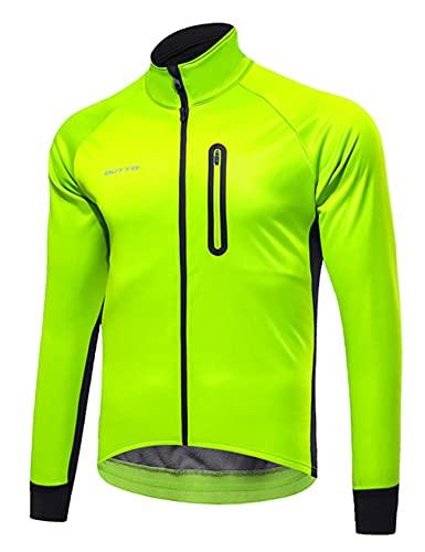 Jueshanzj Ciclismo ropa de los hombres de lana invierno más terciopelo para hombre al aire libre parabrisas caliente manga larga ciclismo camisa hombre, verde fluorescente, 4XL