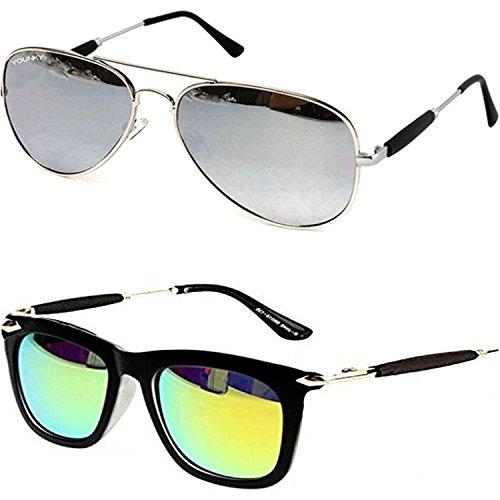 Younky Offer On Combo of Aviator Mercury Sunglasses for Men Women Boys & Girls (M21_AvstkSM-GrnStick) - 2 Sunglass Case