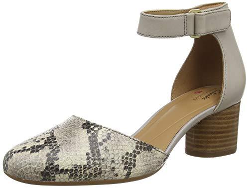 Clarks Un Cosmo Strap, Sandali con Cinturino alla Caviglia Donna, Grigio (Stone Combi Stone Combi), 39.5 EU
