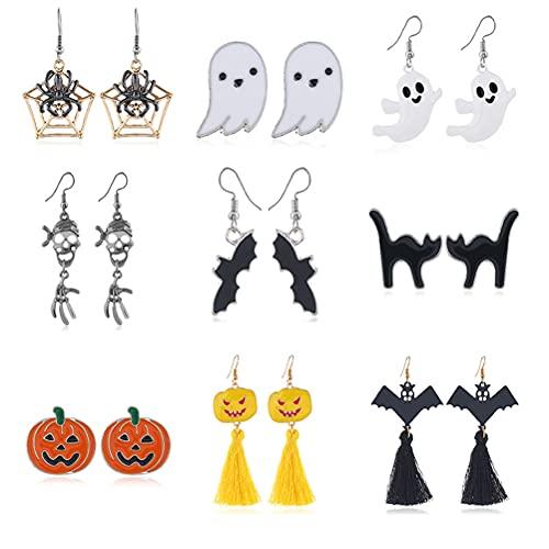 9 paia di orecchini per Halloween, scheletro a forma di zucca con testa di pipipistrello, fantasma, gatto nero, charm, orecchini, gioielli per Halloween e feste