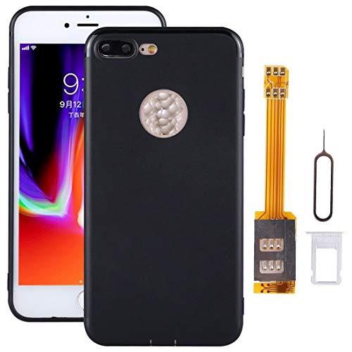 AUDREY For el Kit de Adaptador de Tarjetas SIM Double SIM de iPhone 8 con Estuche Protector Suave (Negro) - Bandeja de Tarjeta SIM (Color : Black)