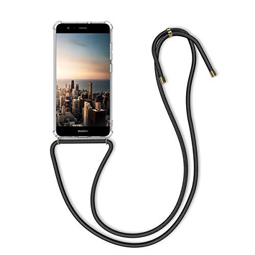 kwmobile Huawei P10 Lite Hülle - mit Kordel zum Umhängen - Silikon Handy Schutzhülle - Transparent