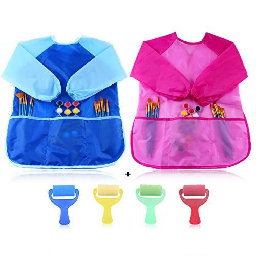 ASFINS Malkittel Kinder, 2 Stück Malschürze Kinder Bastelschürze Kinder Tuschkittel und 3 Taschen, für Malen Basteln Kochen, a 4 Stück Schwammbürste, für 2-8 Jahre (Rosa und Blau)