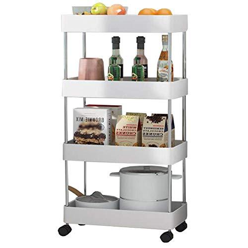 Carrito de almacenamiento con ruedas de 4 niveles para almacenamiento en lugares estrechos, mueble de baño deslizante 87,5 x 40,5 x 22,5 cm