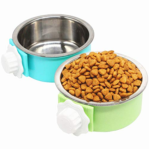 PETWAKEY-ST 2 Pack Crate Dog Bowl, Hanging Kennel Water Bowl Removable & Stainless Steel Pet Cage Food Bowl and Water Feeder Coop Cup for Puppy Medium Dogs Cats Birds Ferret
