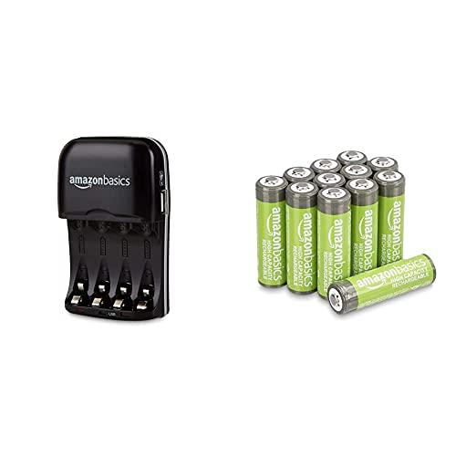 AmazonBasics Caricabatterie con porta USB per batterie Ni-MH AA e AAA & Batterie AA ricaricabili, ad alta capacità, 2400 mAh (confezione da 12), pre-caricate