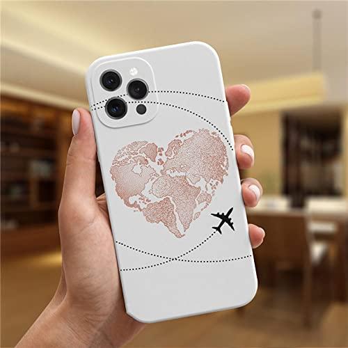 KESHOUJI para iPhone 11 12 Pro MAX 7 8 Plus X XR XS MAX SE2 12 Mini Funda Moda Lujo Popular Planes World Map Travel Funda de Silicona, WihiteMF, C4616, para iPhone 12 Mini
