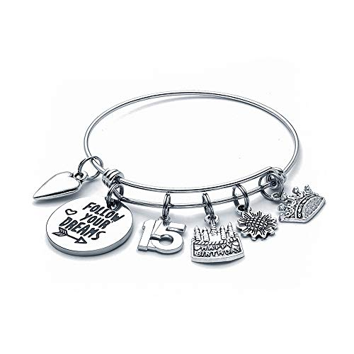15th Birthday Gifts for Her - Happy Birthday Gifts for 15 Year Old Teen Girls Daughter Granddaughter Kids Grandchildren Niece Charm Bracelets for 15 Yr Old Girl Birthday Gifts