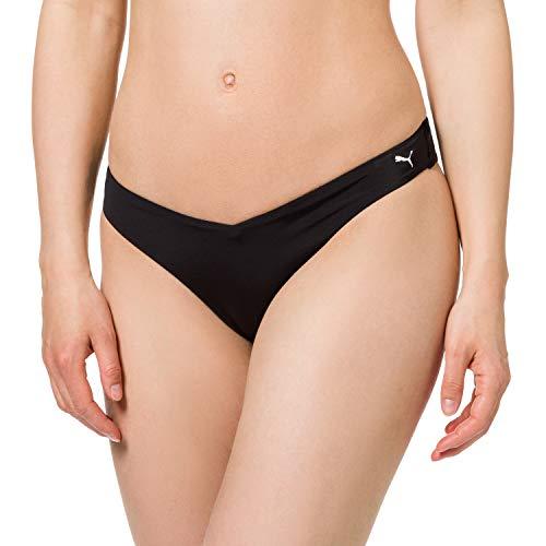 PUMA Womens Swim Women's V-Shape Brief Bikini Bottoms, Black, XL