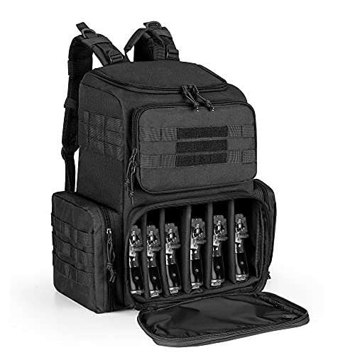 DSLEAF Tactical Range Pistol Backpack for 6 Handguns, Gun...