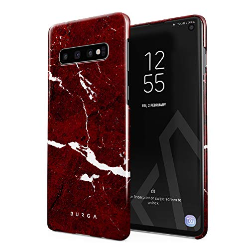 BURGA Phone Case Compatible with Samsung Galaxy S10 Plus - Iconic Ruby Red Marble Cute Case for Girls Thin Design Durable Hard Plastic Protective Case