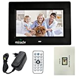 Miracle Digital 7 inch Digital Photo Frame Hi-def. LCD Screen Remote connectivity USB Disk SD Card Mini HDMI Full Functional Photo Slide Show Video Calendar Table Top | Wall mountable