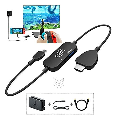 「スイッチドックなし」CNSLミニドック&交換ケーブル Nintendo Switch 多機能 軽量化 3IN1 テレビ出力 スマホ接続 コンパクト 初心者向け Type-c USB3.1 PSE認証済 (黒)