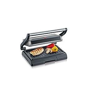 SEVERIN KG 2394 Kontaktgrill (800 W, Kompakt mit Slim-Design) metallic grau/schwarz