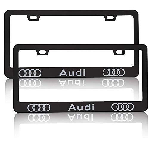 2 Pieces of Audi Luxury Car Matte Black Aluminum Alloy License Plate Frame, Suitable for American Standard Cars License Plate Audi Vehicles